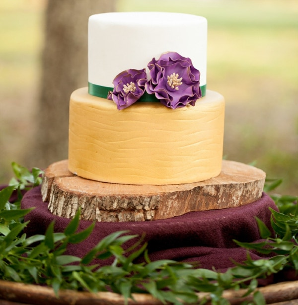 Purple Color Flowers Creative Wedding Cake Design