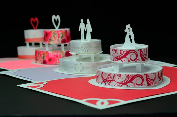 Creative Wedding Cake Invitation Pop Up Card Ribbon