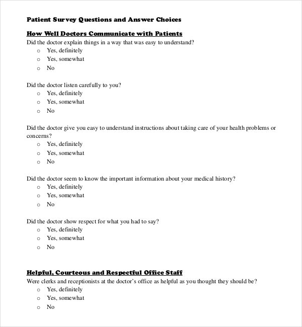 pdf template to download patient survey questions and answer