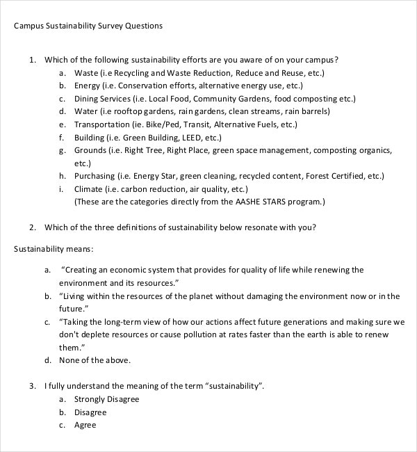 pdf template download for campus sustainability survey questions