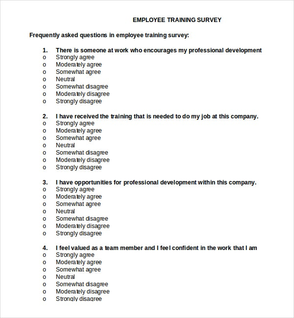 Employee Training Survey Template Document Download