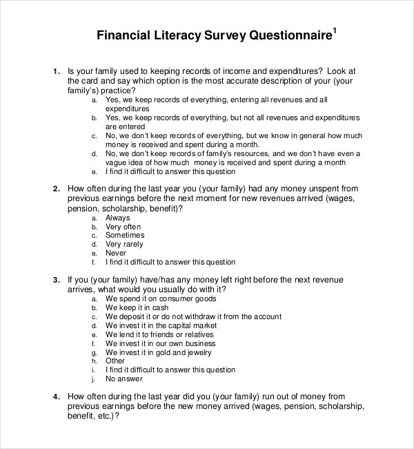 Product Template for Financial Literacy Survey Questionnaire