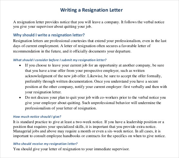 PDF Format Writing A Resignation Letter Free Download  Letter Writing Template