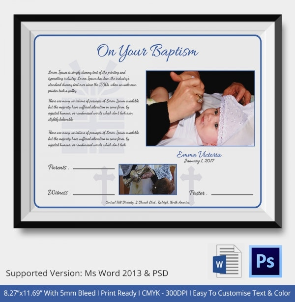 Boy and Girl Dedication Baptism Certificate