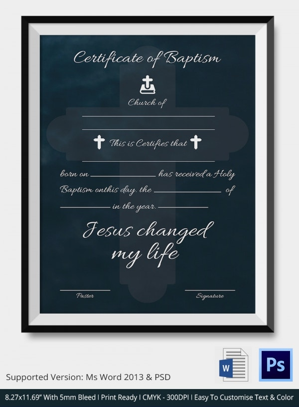 18  sample baptism certificate templates