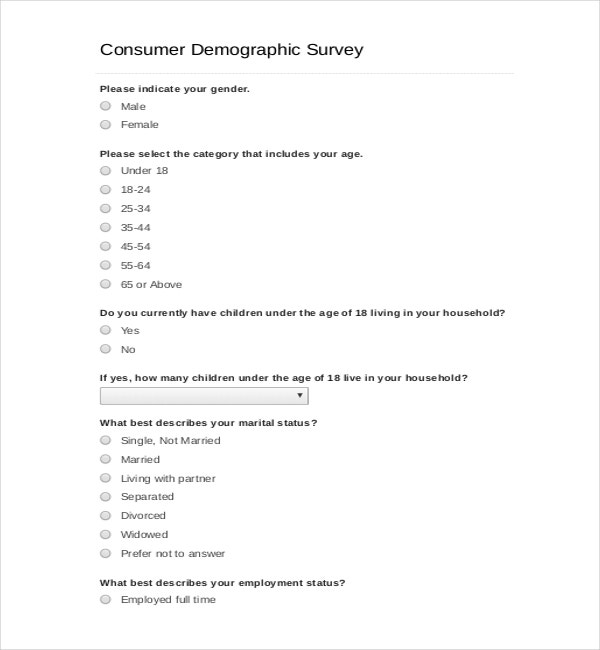 demographic questions for surveys demographic survey templates 8 free word pdf documents 7162