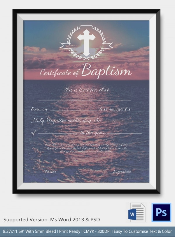 Baptism certificate 12 free word pdf documents for Free water baptism certificate template