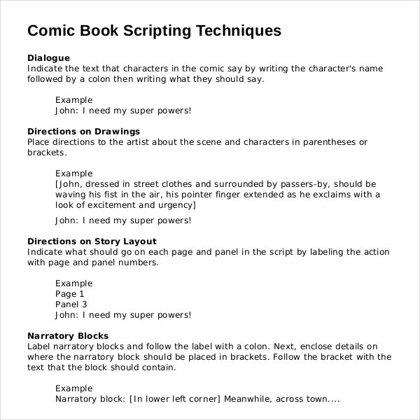 comic book script writing template example