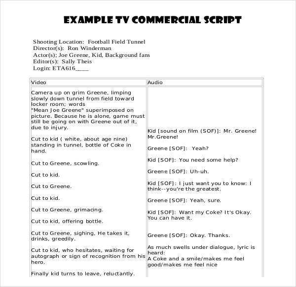 Example Format Commercial Script Writing Template  Blank Writing Sheet