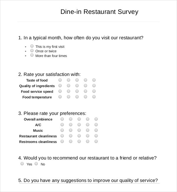 surveys about food 13 restaurant survey templates word pdf free 7967