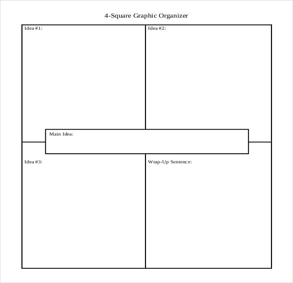 Four Square Graphic Organizer Template Sample