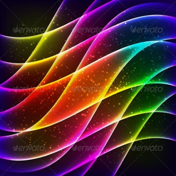 neon rainbow waves diagonal background