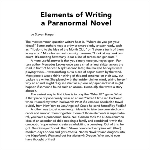 Novel Book Writing Template Example