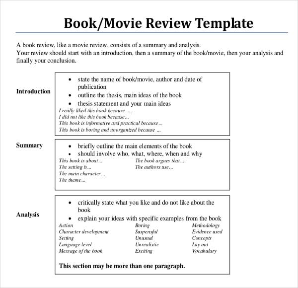 sample book review template | datariouruguay