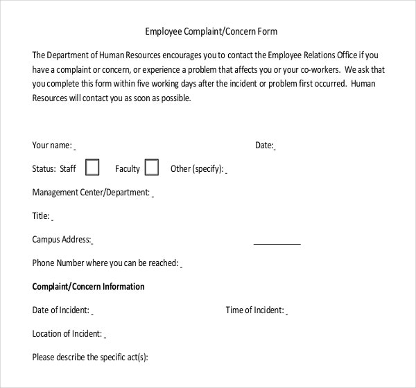 Sample Employee Complaint Write Up Form