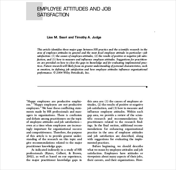 PDF Format Employee Job Satisfaction Write Up Template Download for Free