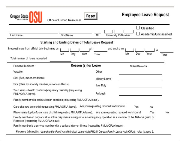 Employee Leave Request Write Up Template PDF Free Download