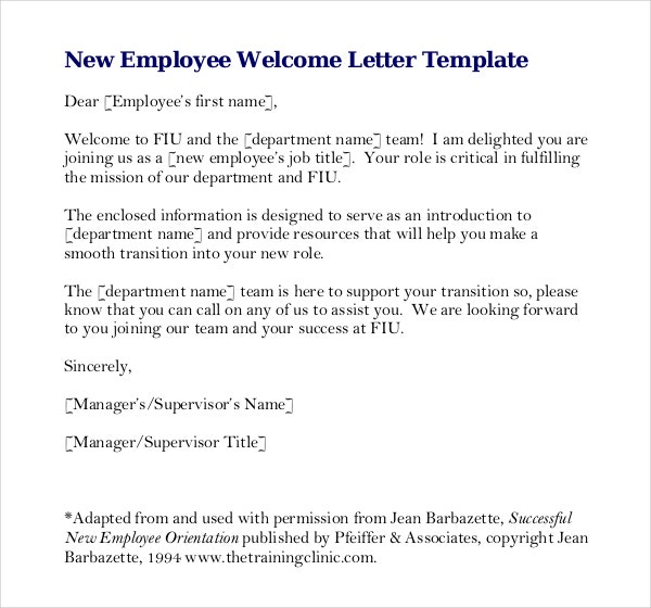 Free Download New Employee Welcome Letter Write Up Template PDF Format