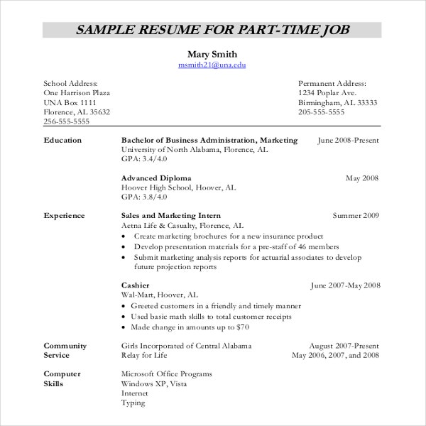 Sample Resume For Part Time Jobs