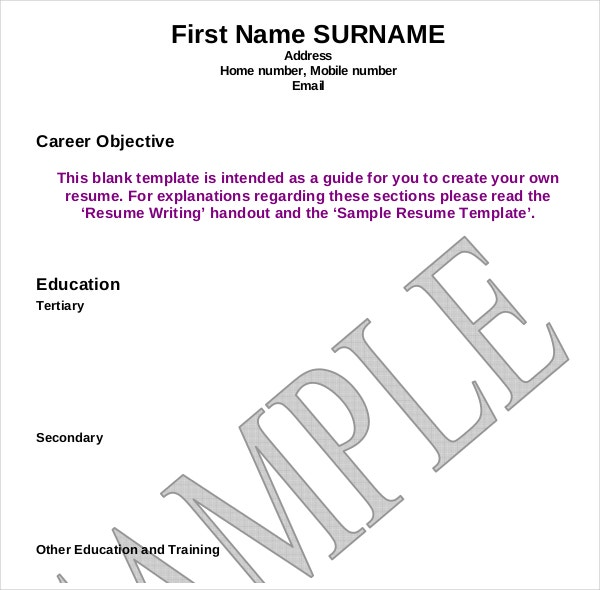 Blank Resume Writing Template Example  Resume Template Examples