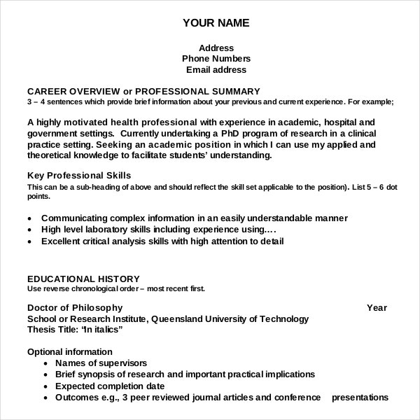academic resume writing template for free - Sample Academic Resume