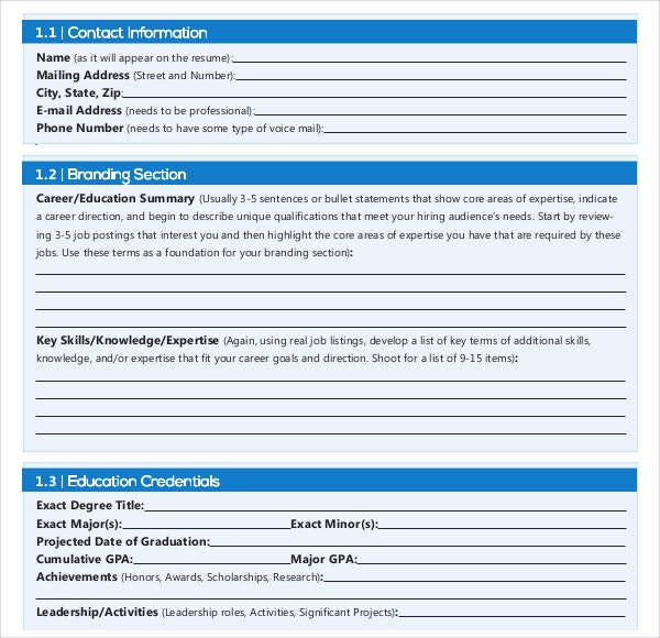 12 resume writing template free sample example format download