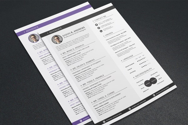 colored lines resume template1