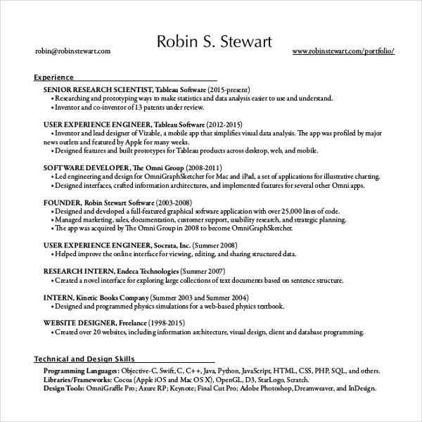 Sample Resume For Fresher Software Engineer Resume Template Resume Examples  Software Engineer Glamorous Sample  Resume For Computer Science