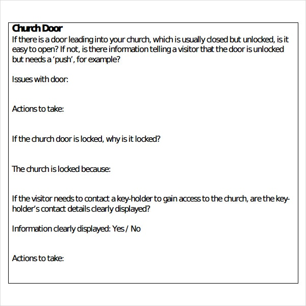 Church Visitors Survey Report Template