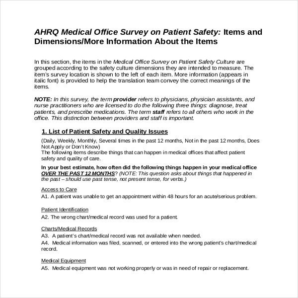 Medical Office Survey on Patient Safety