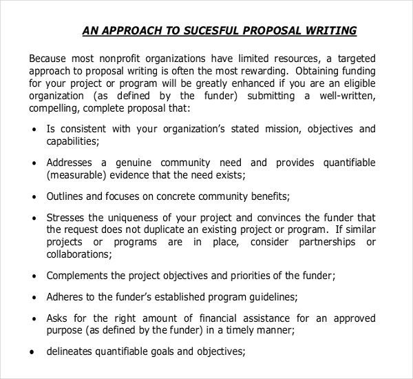 non profit organisation sample grant writing