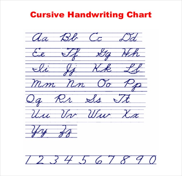 Worksheets Cursive Handwriting Chart For Adult 11 cursive writing templates free samples example format chart download