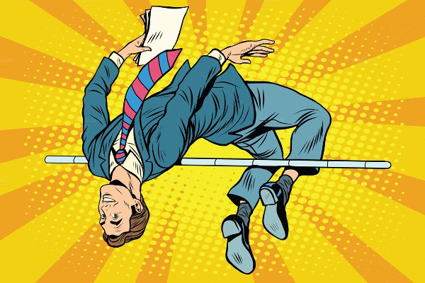 Businessman High Jump Pop Art Retro Style Illustration