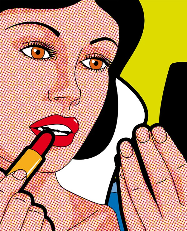 lady make over pop art illustration