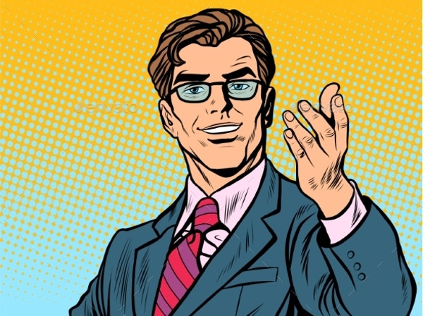 friendly man businessman pop art retro style