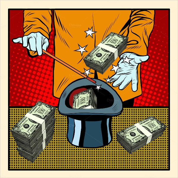 Illusionist Magic Hat Money Pop Art