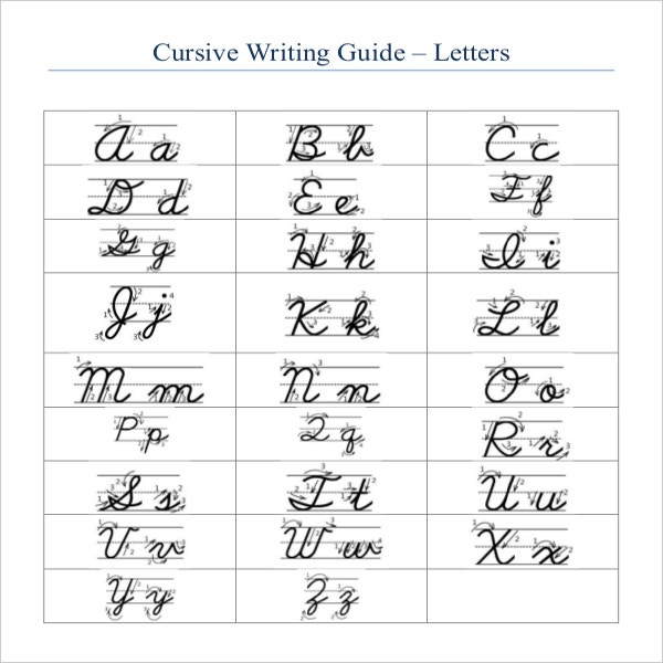 Worksheets Cursive Handwriting Chart For Adult 11 cursive writing templates free samples example format guide template