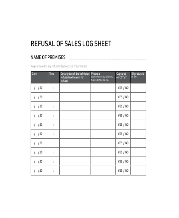 Refusal Sale Log Template