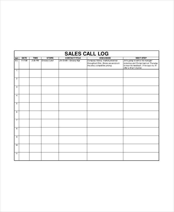 Call Log Template Sales Activity Tracker Daily Planner Cold Call