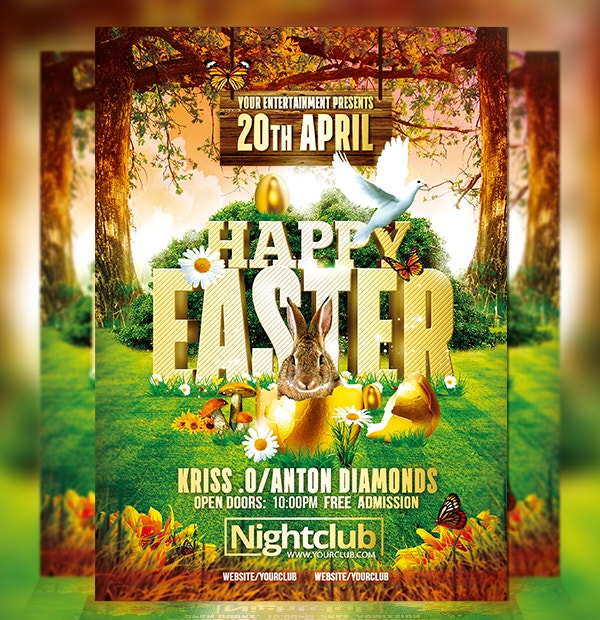 beautiful happy easter flyer