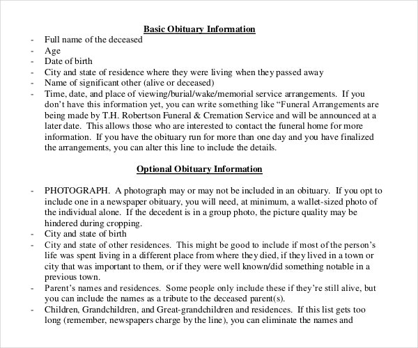Basic Obituary Information Template Sample