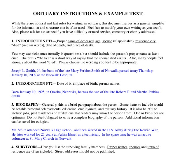 Writing Insructions for Obituary Template Example