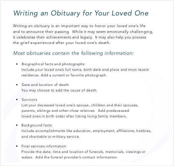 Writing an Obituary for Loved One Sample