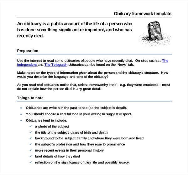 Obituary Framework Template Example