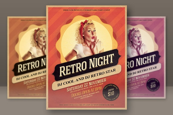 Retro Night Party Flyer Template
