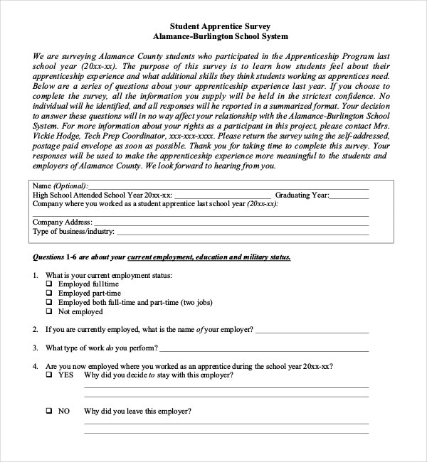 Sample Student Apprentice Survey Template Download