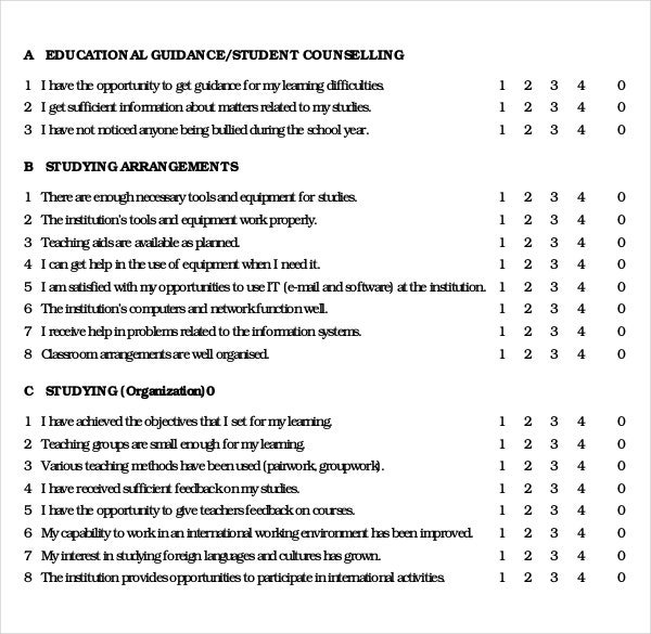 Example Of Questionnaire For Students – Printable Editable Blank