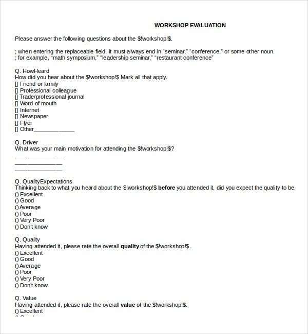 Student Workshop Evaluation Survey Template Free Example