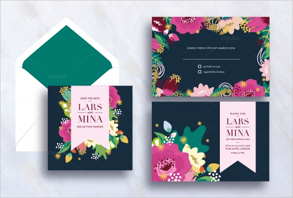 Download Premium Beautiful Wedding Flower Invitation Card