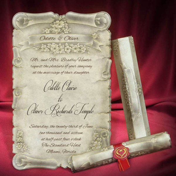 Scroll Wedding Invitation Card Template Personalized